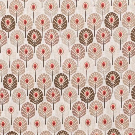 Tissu coton plume de paon - Beige