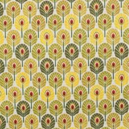Tissu coton plume de paon - Vert