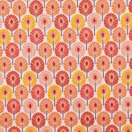 Tissu coton plume de paon - Orange