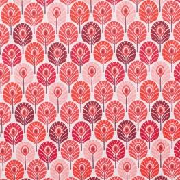 Tissu coton plume de paon - Rose