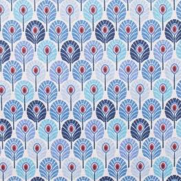 Tissu coton plume de paon - Bleu