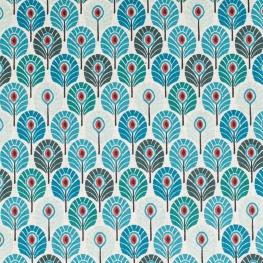 Tissu coton plume de paon - Bleu canard