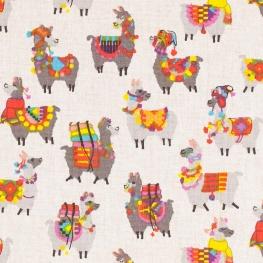 Tissu coton enduit happy lama - Multicolore