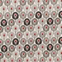 Tissu coton enduit plume de paon - Gris