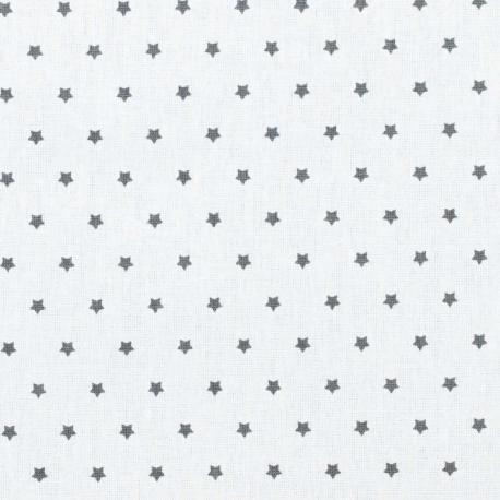 Tissu coton enduit mini étoiles - Ivoire & Gris anthracite