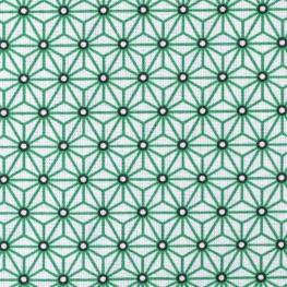 Tissu coton enduit étoiles asanoha - Blanc & vert