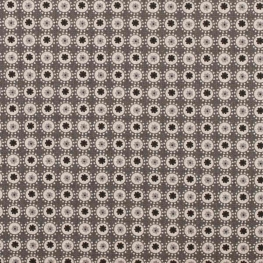 Tissu coton enduit rond & fleuri - Gris anthracite