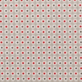 Tissu coton enduit rond & fleuri - Beige & rouge