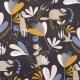 Tissu coton nuit charmante - Bleu nuit