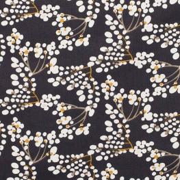 Tissu coton fleuri charmant - Bleu nuit