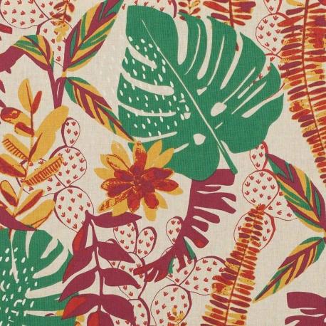 Tissu coton palm jungle - Multicolore