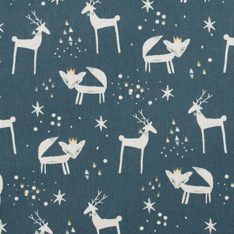 Tissu coton rennes & renards de Noël - Or & bleu nuit