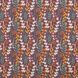 Tissu coton ravissant feuillage - Prune & cannelle