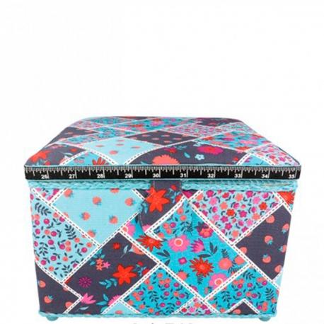 Boite à couture tissu carré fleurs & fraise, taille L