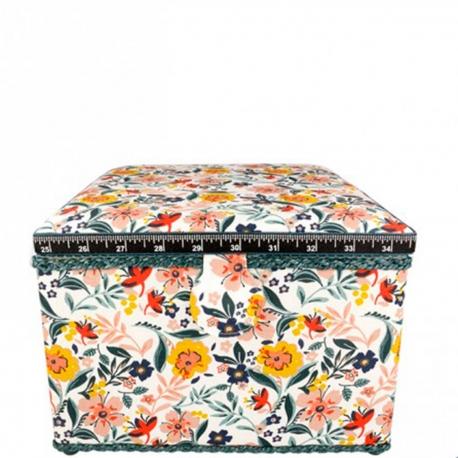Boite à couture tissu carré fleuri, taille L