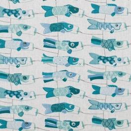 Tissu coton enduit carpe japonaise - Bleu
