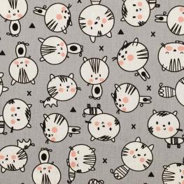 Tissu coton petit chat - Gris