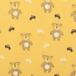 Tissu coton cute bears - Jaune