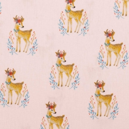 Tissu coton charmant cerf - Rose