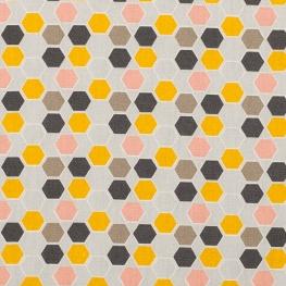 Tissu coton plaisant hexagone - Rose & jaune
