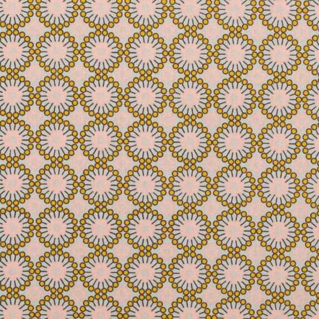Tissu coton plaisant fleuri - Rose & jaune