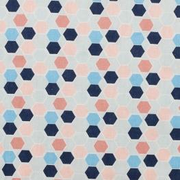 Tissu coton plaisant hexagone - Bleu & rose