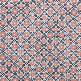 Tissu coton plaisant fleuri - Bleu & rose