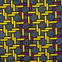 Tissu Wax véritable - Violet & jaune