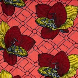 Tissu Wax véritable - Fleurs bordeaux, jaune & rose