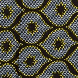 Tissu Wax véritable - Noir, bleu & jaune