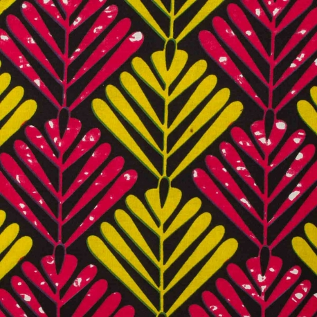 Tissu Wax véritable Fuchsia & jaune