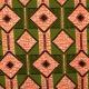 Tissu Wax véritable - Vert & corail