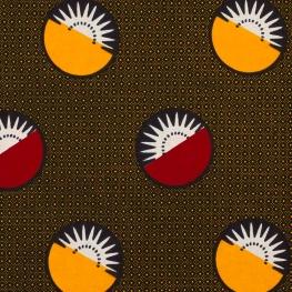 Tissu Wax véritable - Rouge & jaune solaire
