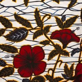 Tissu Wax véritable - Fleuri jaune & rouge
