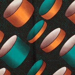 Tissu Wax véritable - Cylindre vert émeraude & cuivre