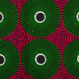 Tissu Wax véritable - Vert & rose