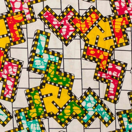Tissu Wax véritable - Puzzle multicolore