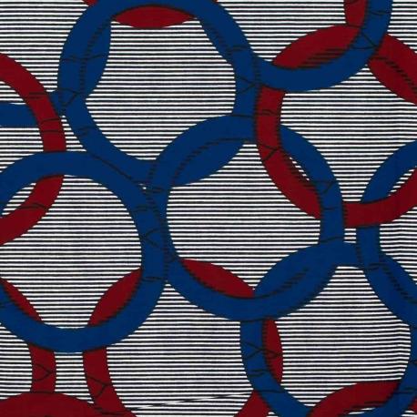 Tissu Wax véritable - Cercle bordeaux & bleu