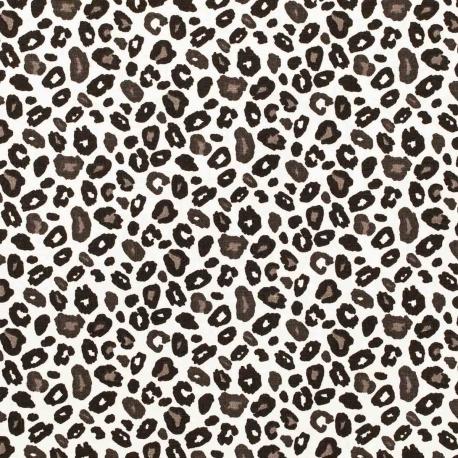 Tissu coton cretonne leopard - Noir & blanc