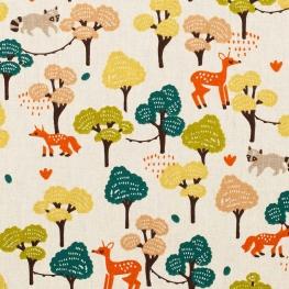 Tissu coton cretonne forêt - Ecru