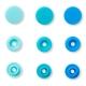 Assortiment 30 boutons pression rond color snaps - Bleus éclatants