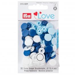 Assortiment 30 boutons pression rond color snaps - Bleu, bleu ciel, blanc