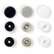 Assortiment 30 boutons pression rond color snaps - Gris, noir & blanc