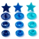 Assortiment 30 boutons pression étoile color snaps - Bleus éclatants