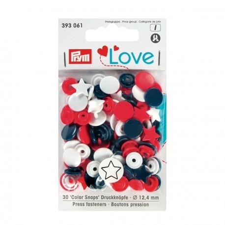Assortiment 30 boutons pression étoile color snaps - Bleu, rouge & blanc