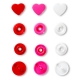 Assortiment 30 boutons pression coeur color snaps - Rouge, rose & blanc