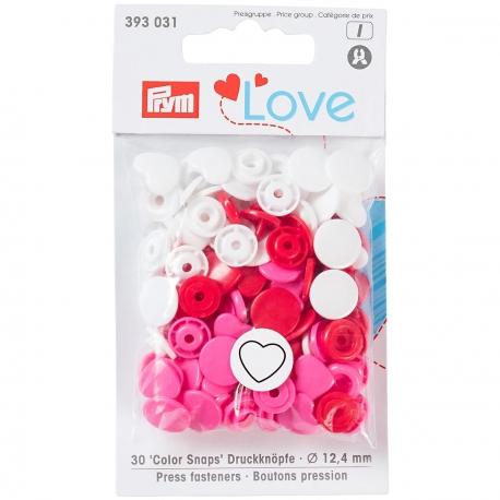 Prym Boutons-pression Color snap coeur 30 pièces boîte