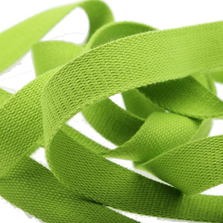Ruban sangle coton, rouleau de 20 mètres - Vert