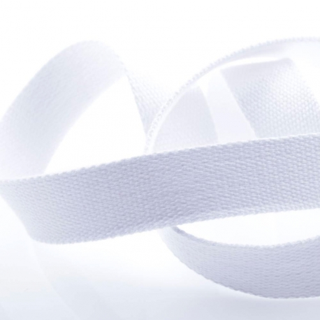 Ruban sangle coton, rouleau de 20 mètres - Blanc