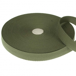 Ruban sangle coton, rouleau de 20 mètres - Vert kaki